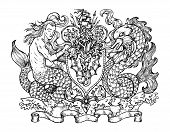 Heraldic Emblem With Mermaid And Monster Fish Dolphin On White, Line Art. Hand Drawn Engraved Illust poster