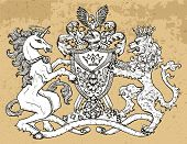 Heraldic Emblem With Unicorn And Fairy Lion Beast On Texture Background. Hand Drawn Engraved Illustr poster