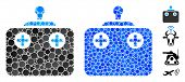Remote Control Mosaic Of Round Dots In Various Sizes And Color Tinges, Based On Remote Control Icon. poster