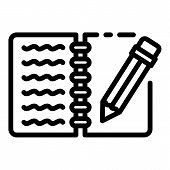 Writing Notebook Icon. Outline Writing Notebook Vector Icon For Web Design Isolated On White Backgro poster