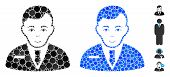 Businessman Mosaic Of Spheric Dots In Variable Sizes And Shades, Based On Businessman Icon. Vector D poster
