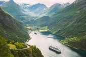 Geirangerfjord, Norway. Touristic Ship Ferry Boat Cruise Ship Liner Floating Near Geiranger In Geira poster