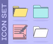 Set Document Folder, Document Folder, Blank Notebook And Pencil With Eraser And Document Folder Icon poster