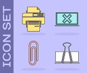 Set Binder Clip, Printer, Paper Clip And Laptop And Cross Mark On Screen Icon. Vector poster
