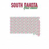 South Dakota Real Estate Properties Map. Text Design. South Dakota Us State Realty Creative Concept. poster