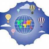 Colored Hot Air Balloons Floating In Sky. Globe And Clouds Background. Fantasy, Creative, Innovation poster