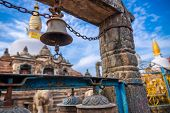 Metal Bell Hanging Infront Of A Sacred Monastery In Kathmandu, Nepal. Buddhist Gompa. Buddhism. poster