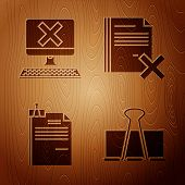 Set Binder Clip, Computer With Keyboard And X Mark, File Document And Binder Clip And Delete File Do poster