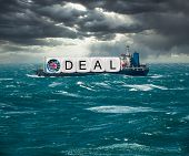 Global Trading With Container Ship Carrying Brexit Deal Concept For December 2020 If No Trade Deal W poster
