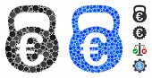 Euro Weight Mosaic Of Filled Circles In Variable Sizes And Shades, Based On Euro Weight Icon. Vector poster