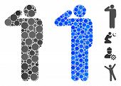 Salute Pose Mosaic Of Round Dots In Various Sizes And Shades, Based On Salute Pose Icon. Vector Roun poster