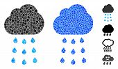 Rain Cloud Mosaic Of Circle Elements In Variable Sizes And Color Tints, Based On Rain Cloud Icon. Ve poster