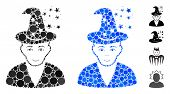 Magic Master Mosaic Of Small Circles In Different Sizes And Color Tinges, Based On Magic Master Icon poster