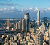 Ramat Gan And Tel Aviv Skyline In Sunset, New Skyscraper In Ramat Gan poster
