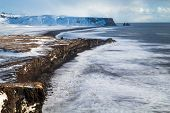 Iceland Vik Village, Winter In Iceland, Black Beach Iceland, Arch, Snow In Iceland poster