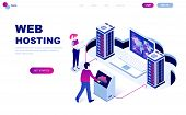 Modern Flat Design Isometric Concept Of Web Hosting Decorated People Character For Website poster