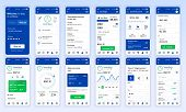 Set Of Ui, Ux, Gui Screens Banking App Flat Design Template For Mobile Apps, Responsive Website Wire poster