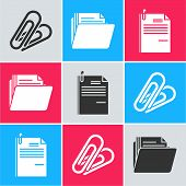 Set Paper Clip, Document Folder And File Document And Paper Clip Icon. Vector poster
