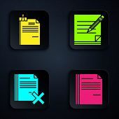 Set File Document, File Document And Binder Clip, Delete File Document And Blank Notebook And Pencil poster