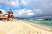 Tropical Beaches Of Riviera Maya Near Cancun, Mexico. Concept Of Summer Vacation Or Winter Getaway T poster