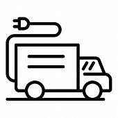 Electric Plug In Truck Icon. Outline Electric Plug In Truck Vector Icon For Web Design Isolated On W poster