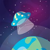 Cute Cartoon Illustration Of Ufo Space Ship Landing On The Earth Or Exo Planet. Illustration Of Flyi poster