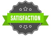 Satisfaction Isolated Seal. Satisfaction Green Label. Satisfaction poster