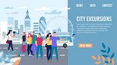 City Excursions, Bus Tour In Europe Travel Trendy Flat Vector Web Banner, Landing Page Template. Tou poster
