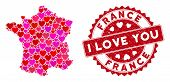 Love Collage France Map And Rubber Stamp Watermark With I Love You Words. France Map Collage Compose poster