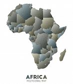 Africa Map. Actual Low Poly Style Continent Map. Bizarre Vector Illustration. poster