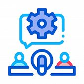 Hosts Microphone Gear Icon Vector. Outline Hosts Microphone Gear Sign. Isolated Contour Symbol Illus poster