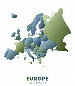 Europe Map. Actual Low Poly Style Continent Map. Fresh Vector Illustration. poster