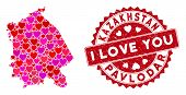 Love Collage Pavlodar Region Map And Corroded Stamp Seal With I Love You Phrase. Pavlodar Region Map poster