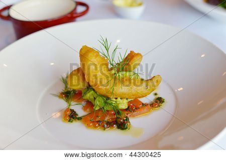 Salmon Roe, Spiced Avocado & Prawn Beignet