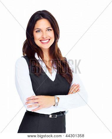 Retrato de mujer de negocios joven feliz aislada sobre fondo blanco