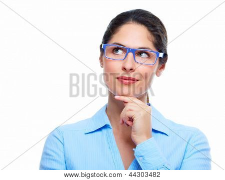 Business woman with eyeglasses  isolated on white background