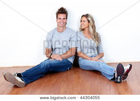 Happy couple at home. New house concept.