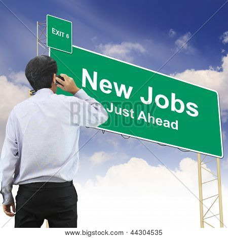 Road Sign Concept With The Text New Jobs