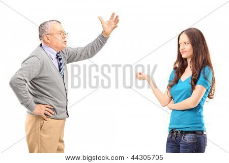 An angry father reprimanding his daughter isolated on white background