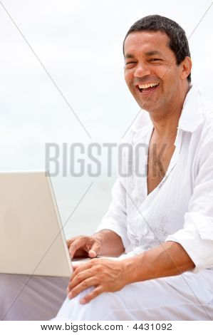 Beach Man On A Laptop