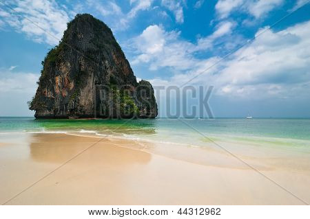 Tropical Beach Landscape With Rock Formation Island And Ocean