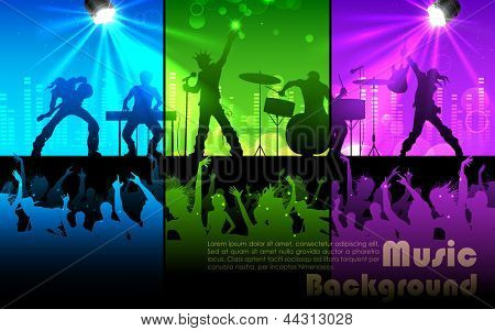 illustration of people cheering rock band musical performance