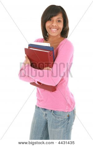 Happy Female College Student Holding Notebooks  Isolated