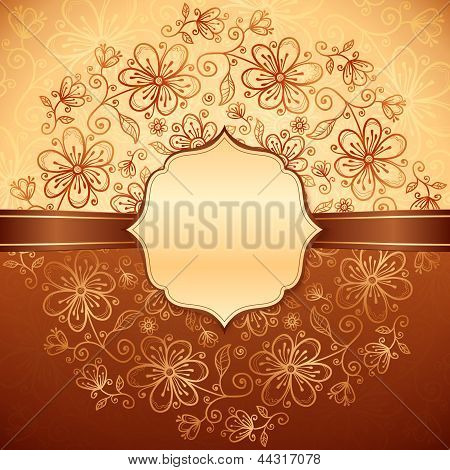 Lacy vintage flowers background with label