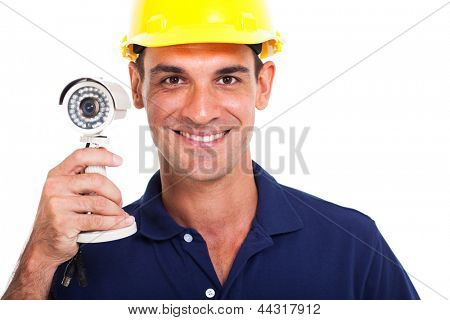 portrait of happy cctv system installer close up