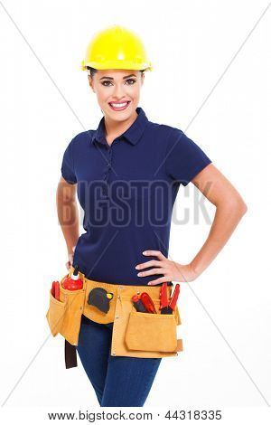 female construction contractor portrait isolated on white