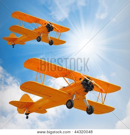 Retro style picture of the old biplanes.
