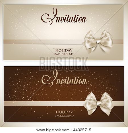 Gorgeous gift cards with white bows and copy space. Vector illustration