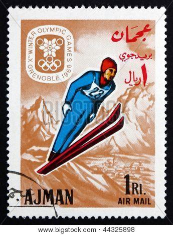 Postage Stamp Ajman 1967 Ski Jumping, Winter