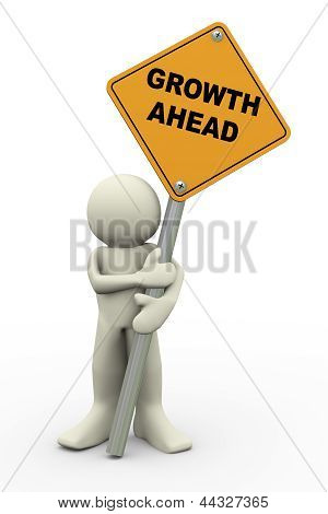 3D Man With Growth Ahead Sign Board